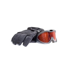 Ski snowboard goggles with gloves isolated on vector