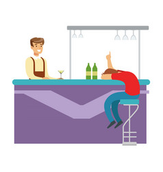 drunken man asleep at the bar counter part of vector image