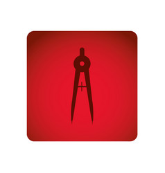 red square frame with compass school tool vector image