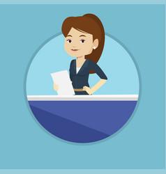 television anchorwoman at studio vector image