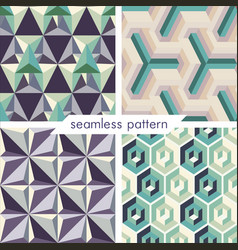 Set of four seamless geometrical patterns 14 vector