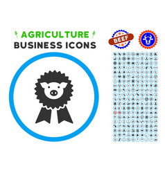 Pig award seal rounded icon with set vector