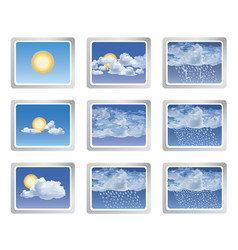 Weather report icon set sun with clouds buttons vector