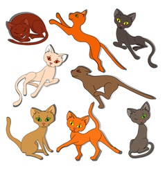 Eight colorful funny cats on a white background vector image