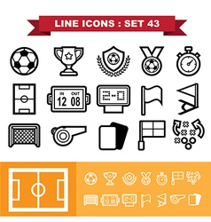 Soccer football line icons set 43 vector