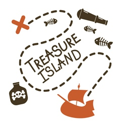 Treasure island card design vector