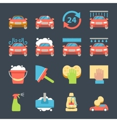 Car wash auto cleaner washer shower service icons vector