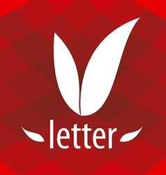 Abstract logo v letter in the form of petals vector