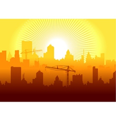 Sunrise in town vector