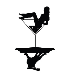 Girl and martini in hand silhouette vector