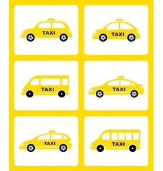 Set of yellow taxi car icon vector