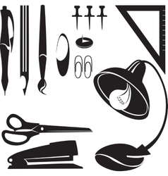 Office tools silhouette set 01 vector