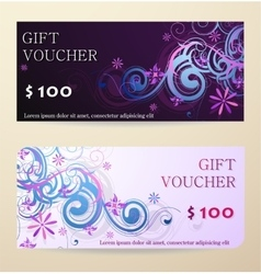Decorative gift voucher design vector