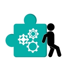 person pushing puzzle piece with gears icon vector image