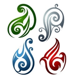 Fire water earth and wind emblems vector