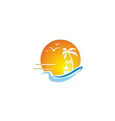 Beach ocean sunset travel tropic hawai logo vector