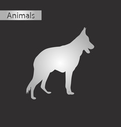 black and white style icon of german shepherd vector image