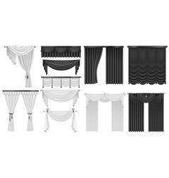 Black and white velvet silk curtains and draperies vector