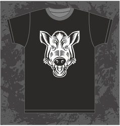 Boar on T-shirt vector image vector image