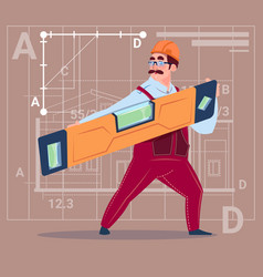 Cartoon builder holding carpenter level wearing vector