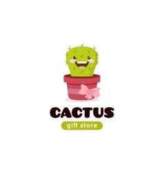 Cartoon cactus mascot logo for gift shop vector