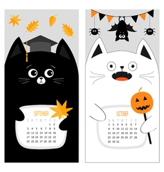 Cat calendar 2017 cute funny cartoon character set vector