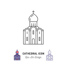 cathedral icon thin line art symbols a cathedral vector image