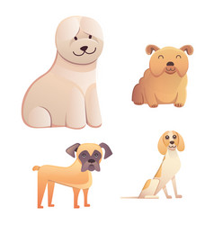 Different type of cartoon dogs happy dog set vector