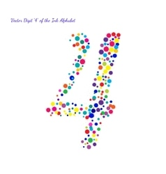 Digit 4 from bright color ink blots with vector