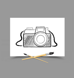 drawing camera on white paper vector image