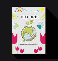 Eco card with earth and geometric shape vector
