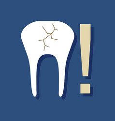 Flat icon design collection tooth fracture in vector
