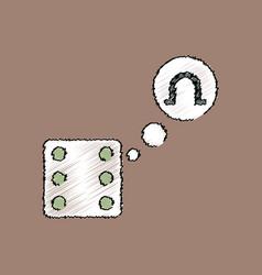 Flat shading style icon dice and horseshoe vector