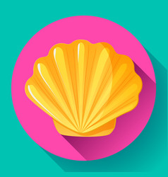 Gold sea shell flat logo seafood flat icon vector