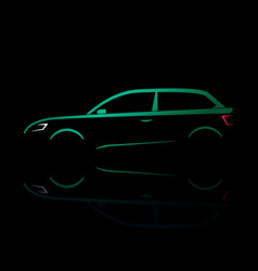 Green silhouette of a car coupe vector