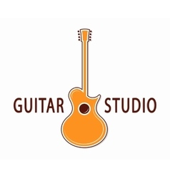 Guitar icon or symbol logo for music shop vector