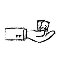 Hand human with bill dollar money isolated icon vector