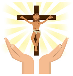 Hands with jesus christ crucified vector