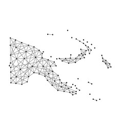 Map of papua new guinea from polygonal black lines vector