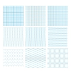 Nine cyan geometric grids seamless patterns vector