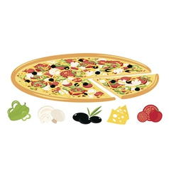 Pizza with ingredients vector