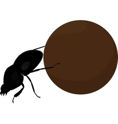 Scarab beetle with big manure ball vector