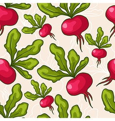 Seamless hand drawn radish background vector image vector image