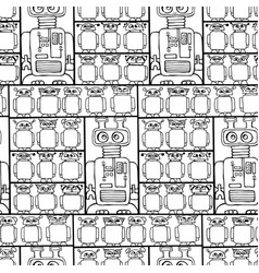 seamless pattern with cute retro robots vector image vector image
