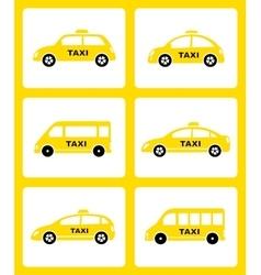 Set of yellow taxi car icon vector