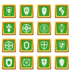 shields set icons set green vector image