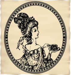 Vintage engraved lady with cup of tea or coffee vector