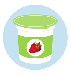 yogurt healthy cream milk product in plastic vector image