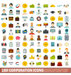 100 corporation icons set flat style vector image vector image