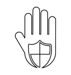 Hand human with shield silhouette icon vector